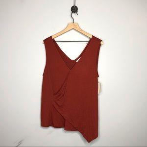 14th & Union Texture Knit Faux Wrap Top 1X